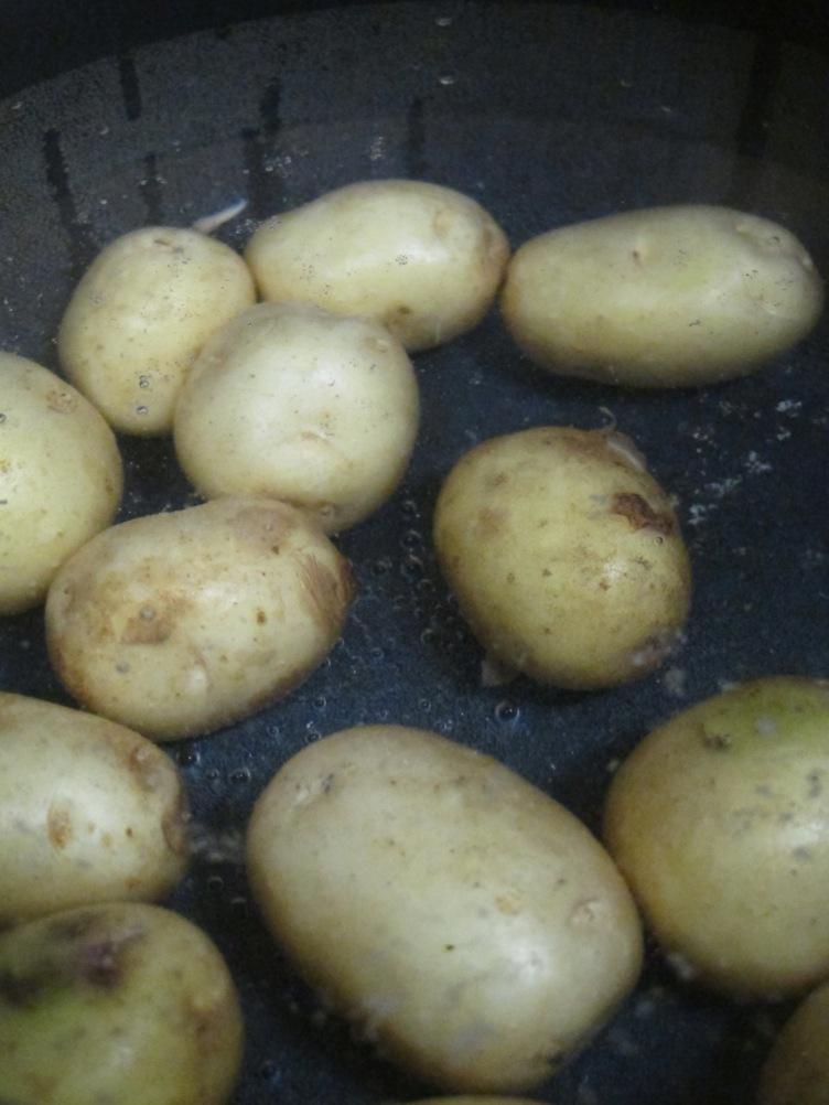 水蓋過馬鈴薯 加入海鹽