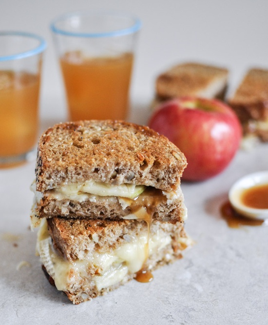 Caramel apple grilled cheese