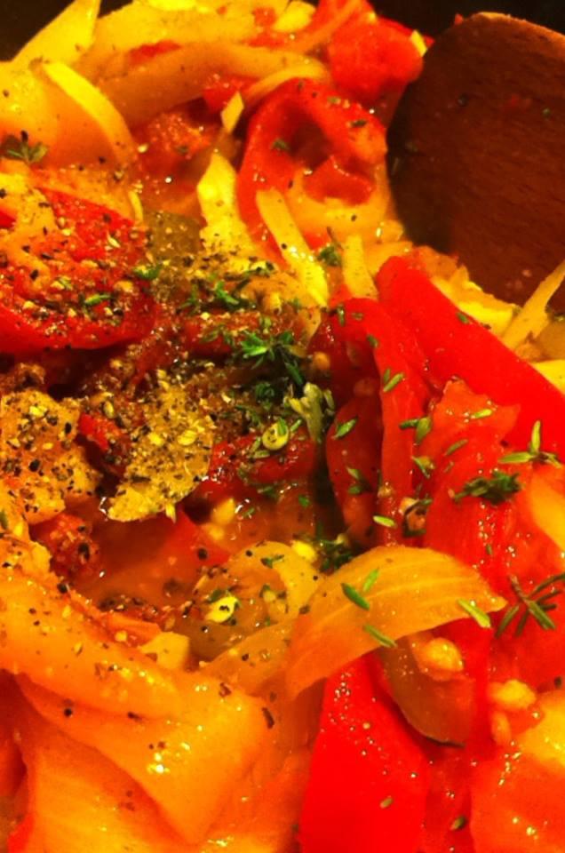 炒蒜香烤番茄甜椒