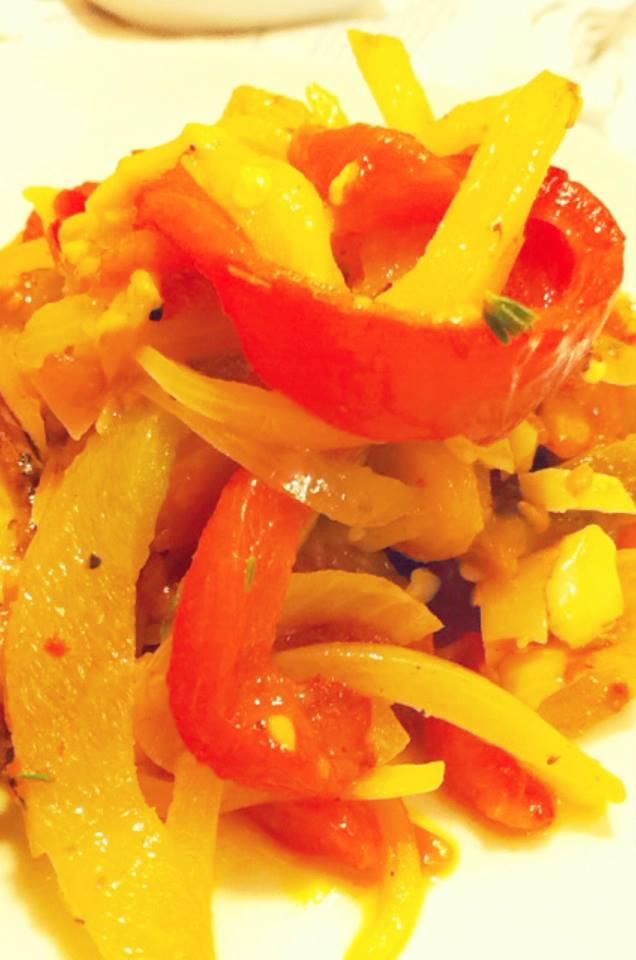 炒蒜香烤蕃茄甜椒