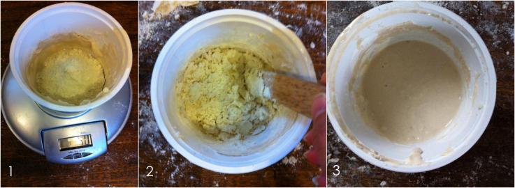 這是使用了兩次後液態老麵後,持續加入麵粉跟水(第三次)