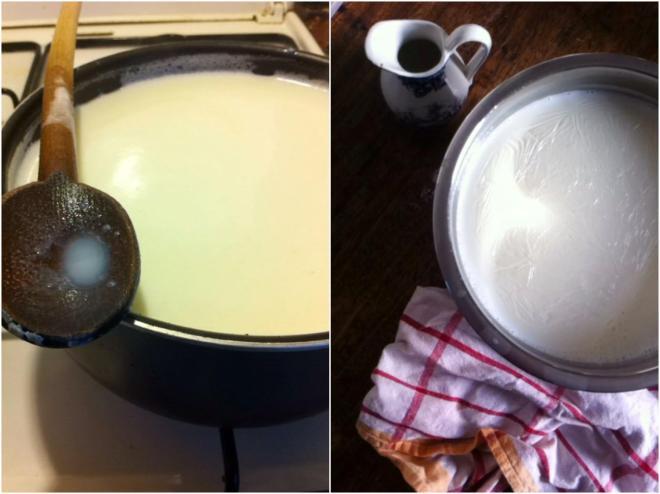 鮮牛奶拿會來後,小火煮滾20分鐘,過濾後,放涼 在裝進瓶子裡,放進冰箱冰.