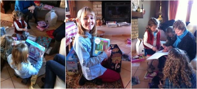 女孩們開心的拆著禮物