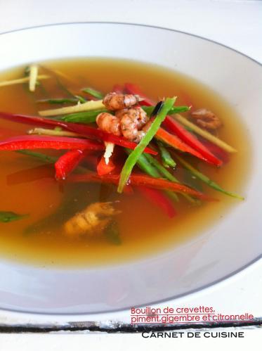 鮮蝦甜椒湯佐薑絲與香茅Bouillon de crevettes,piment,gingembre et citronnelle-1