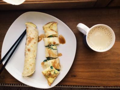 傳統家常蛋餅 Dan bing, Crêpes Taiwanaise aux œufs et à l'oignon-2