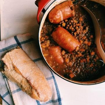 綠扁豆&燻肉腸