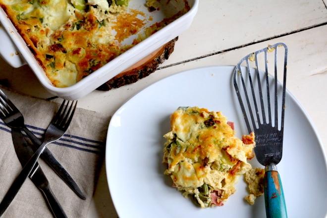 大蔥, 火腿,Mozzarella蕎麥粉克拉弗提  Clafoutis de sarrasin, poireau,jambon et mozzarella