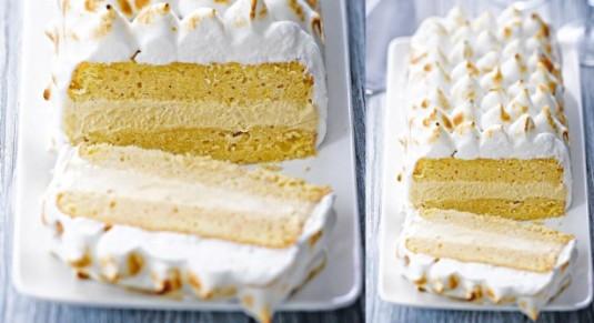 挪威歐姆蕾 主要有 :戚風蛋糕,香草冰淇淋,義大利蛋白霜